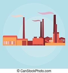 vektor, průmyslový, stavení, nechat na holičkách, a, továrna