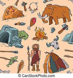 vektor, primitív, neanderthale, emberek, elbocsát, fegyver,...