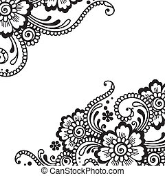 vektor, prydnad, blomma
