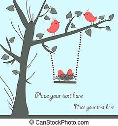 vektor, ptáček, karta