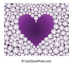 vektor, purpurfärgad hjärta, på, diamant, baksida