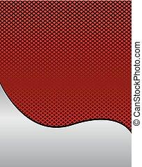 vektor, rács, piros háttér, lenget
