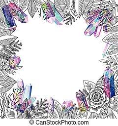 vektor, rózsa, virág, határ, jóslatok