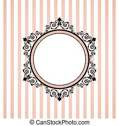 vektor, rózsaszínű, csíkos keret