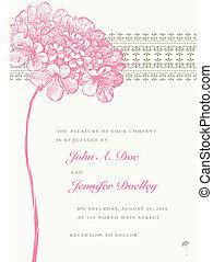 vektor, rózsaszínű virág, esküvő, keret, és, háttér