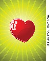 vektor, röd, glatt, hjärta