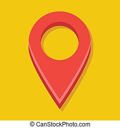 vektor, röd, karta, etikett