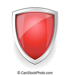 vektor, röd, tom, skydda