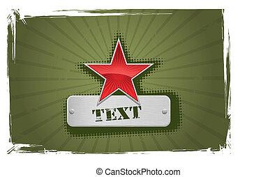 vektor, røde grønne, stjerne indramm