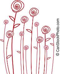 vektor, røde roser