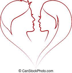 vektor, rødt hjerte, ansigter