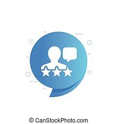 vektor, rückkopplung, kommentar, kunde, ikone, kritik