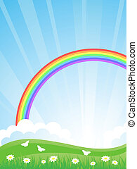 vektor, rainbow., il, landschaftsbild