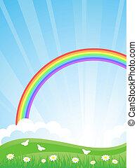 vektor, rainbow., il., landskab