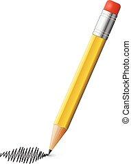 vektor, rajz, ceruza, írás