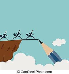 vektor, rajz, egy, bridzs, és, leigáz adversity, ügy fogalom, mint, egy, csoport emberek, futás, alapján, egy, szirt, fordíts, másik, noha, a, segítség, közül, egy, ceruza, egyenes, skicc, mint, egy, fogalom, helyett, bridzs hézag, helyett, success.