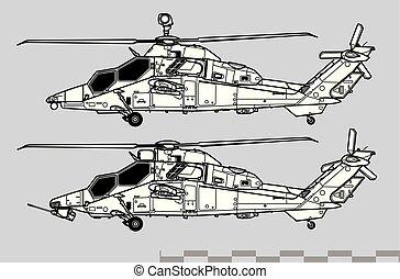 vektor, rajz, repülőgép, profiles., áttekintés