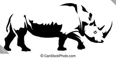 vektor, rajzol, ábra, fekete, white festmény, lineáris, orrszarvú