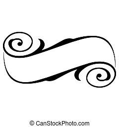 vektor, ram, kalligrafi, baner, band