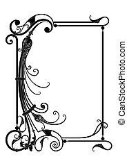 vektor, ram, med, blommig, dekor
