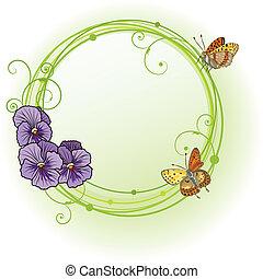 vektor, ram, med, violett, penséer
