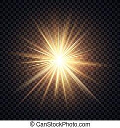 vektor, realistisk, stråle, gul, belysning, bakgrund, verkan, starburst, sol, transparent, glöd