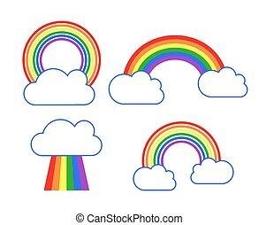 vektor, regenbogen, satz, wolkenhimmel, heiligenbilder
