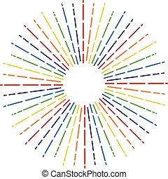 vektor, regnbue farve, starburst