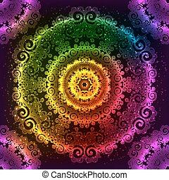 vektor, regnbue, mandala, neon, udsmykket