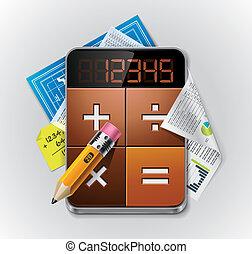 vektor, regnemaskine, xxl, detaljeret, ikon