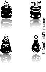 vektor, regulators., steuerung, räumlichkeiten, schwarz, purifiers, glyph, haushaltsgerã¤te, klima, raum, luft, weißes, feuchtigkeit, humidifiers, diffusers, tropfen, illustrationen, oel, heiligenbilder, freigestellt, schatten, set., minimalistic