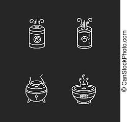 vektor, regulators., steuerung, räumlichkeiten, schwarz, purifiers, haushaltsgerã¤te, entwürfe, klima, luft, weißes, feuchtigkeit, tafelkreide, satz, hintergrund., humidifiers, illustrationen, tafel, heiligenbilder, freigestellt, minimalistic