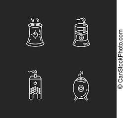 vektor, regulators., wasser, steuerung, räumlichkeiten, schwarz, haushaltsgeräte, klima, luft, evaporators, weißes, feuchtigkeit, tafelkreide, humidifiers, satz, hintergrund., illustrationen, tafel, heiligenbilder, freigestellt