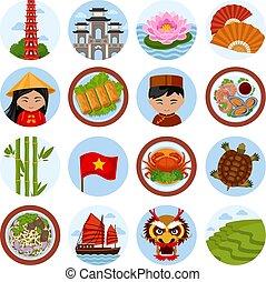 vektor, reise, satz, vietnam., illustrations.