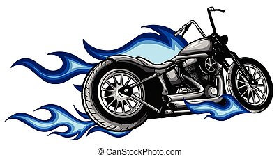 vektor, reiten, brennender, abbildung, fahrrad, zerhacker, ...