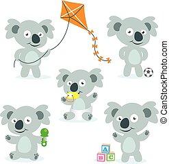 vektor, reizend, karikatur, koalas