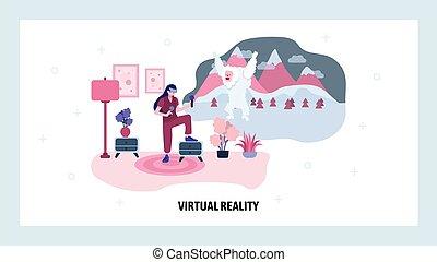 vektor, relity, virkelighed, augmented, vr, væv, website, videogame, site, virtuelle, konstruktion, illustration, landgangen, game., template., technology., console., goggles, side, begreb