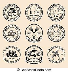 vektor, retro, állhatatos, közül, major friss, logotypes., szüret, elnevezés, noha, kéz, sketched, agricultural felszerelés, illustrations.