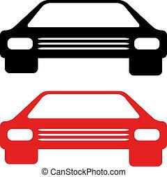 vektor, retro, amerikan, bil, symbol