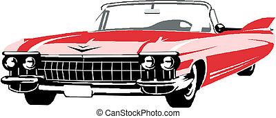 vektor, retro, bil