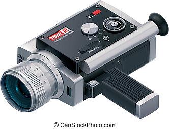 vektor, retro, camcorder, ikone