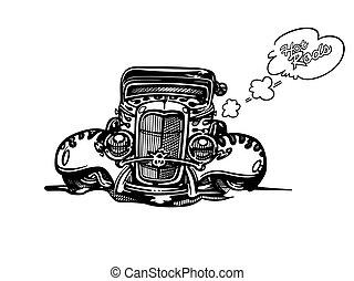 vektor, retro, feltuningolt autó, autó, clipart, karikatúra, illustration., klasszikus, szüret autó