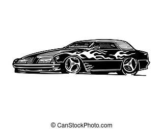 vektor, retro, hotrod, auto, clipart, karikatur, illustration., klassisch, jahrgangsauto