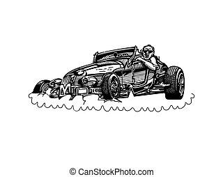 vektor, retro, hotrod, bil, clipart, tecknad film, illustration., klassisk, årgång bil