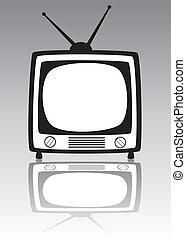 vektor, retro, televízió díszlet