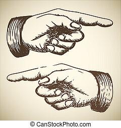vektor, retro, weinlese, zeigen, hand