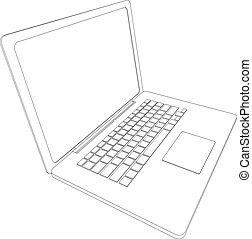 vektor, rgeöffnete, wire-frame, laptop.