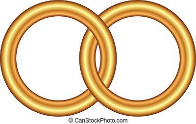 vektor, ringer, illustration, guld