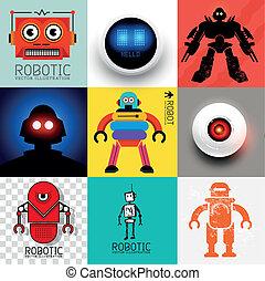 vektor, roboter, sammlung