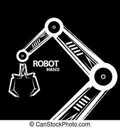 vektor, robotic beväpnar, symbol., robot, hand